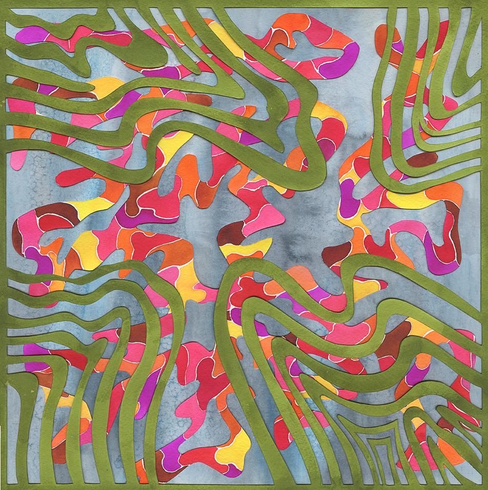 el estanque / pintura-collage